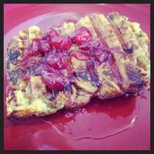 Leftover Thanksgiving Stuffing French Toast & Cranberry Syrup