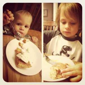 Kids Eating their Pumpkin & Apple Pie for Thanksgiving