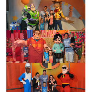 Buzz, Woody, Ralph, Vanellope, Frozone, and Mr. Incredible