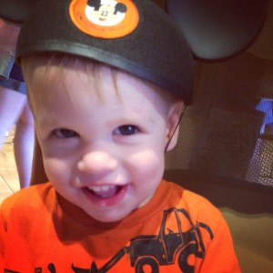 All Smiles with his Mickey Mouse Ears in Disney World